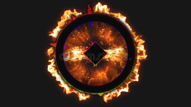 Fondo abstracto del movimiento, luces brillantes, energía geométrica de la forma de las ondas acústicas y partículas chispeantes  stock de ilustración