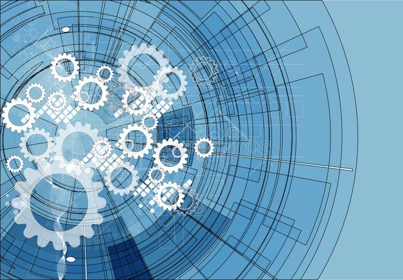 Fondo abstracto del negocio de la tecnología de la calculadora numérica del engranaje libre illustration