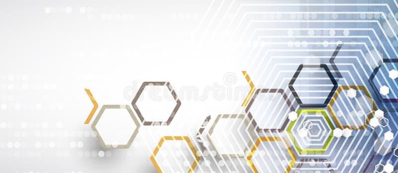 Fondo abstracto del negocio de la tecnología del hexágono del ordenador del circuito de la estructura libre illustration