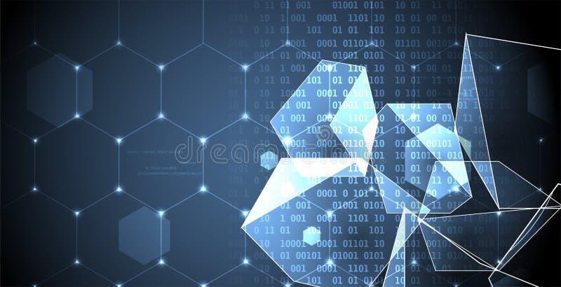 Fondo abstracto del negocio de la tecnología del hexágono del ordenador del circuito de la estructura ilustración del vector
