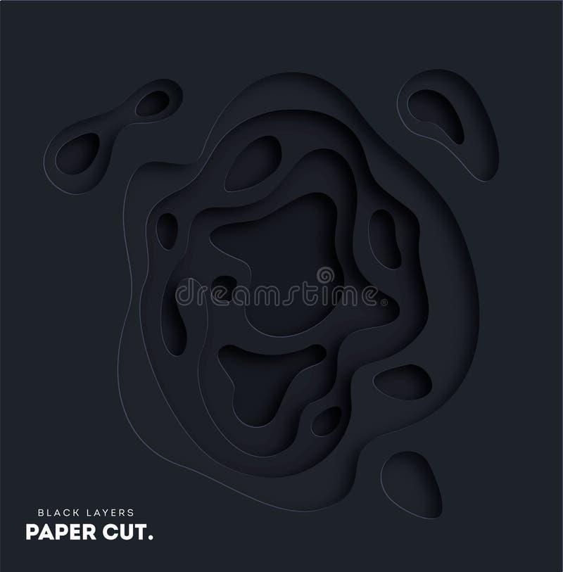 fondo abstracto del negro 3D con formas del corte del Libro Blanco Elija su color Disposición de diseño del vector para las prese libre illustration