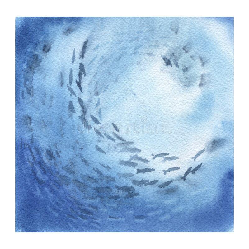 Fondo abstracto del océano con los pescados ilustración del vector