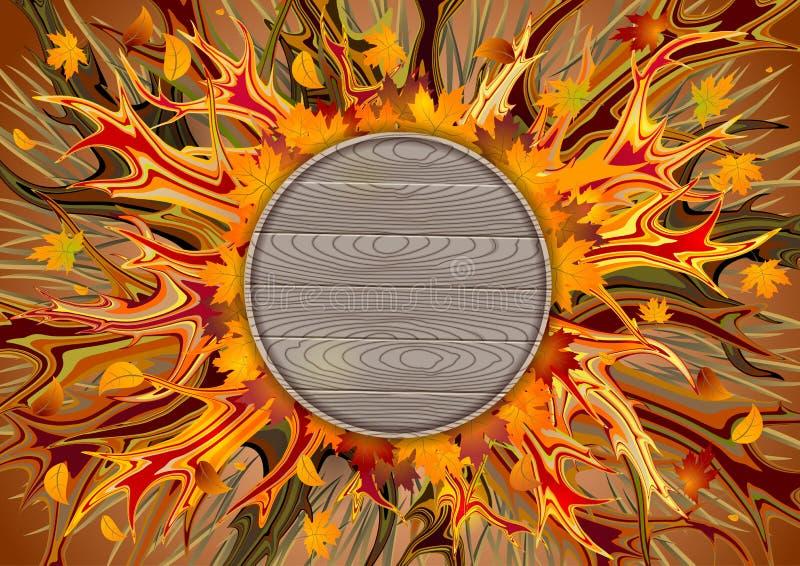 Fondo abstracto del otoño en colores calientes stock de ilustración
