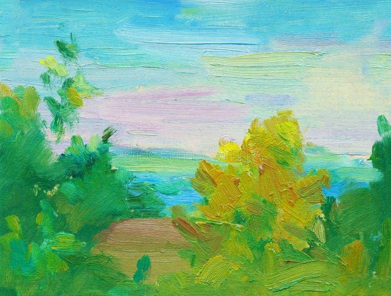 Fondo abstracto del paisaje de la pintura al óleo Pintura al óleo del mar y de los árboles, puesta del sol multicolora en el hori stock de ilustración