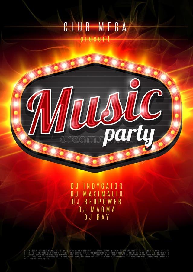 Fondo abstracto del partido de la música para el diseño del evento de la música Marco ligero retro en fondo rojo de la llama Ilus ilustración del vector
