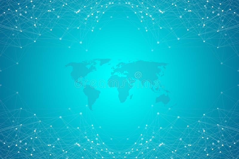 Fondo abstracto del plexo con las líneas y los puntos conectados Efecto geométrico del plexo Complejo grande de los datos con los libre illustration