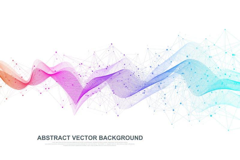 Fondo abstracto del plexo con las l?neas y los puntos conectados Flujo de la onda Datos grandes del efecto geom?trico del plexo c ilustración del vector