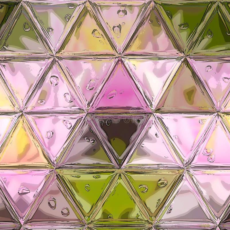 Fondo abstracto del polígono con un modelo del triángulo en el color púrpura violeta del rosa en colores pastel, vidrio transpare stock de ilustración
