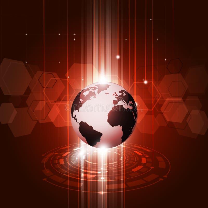 Fondo abstracto del rojo de la tecnología ilustración del vector