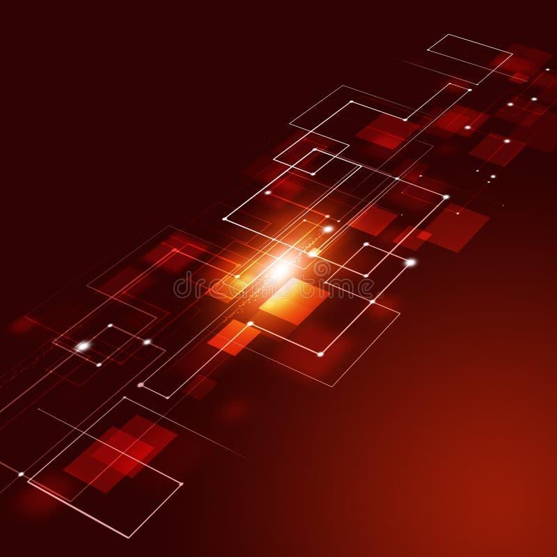 Fondo abstracto del rojo de las conexiones de la tecnología stock de ilustración