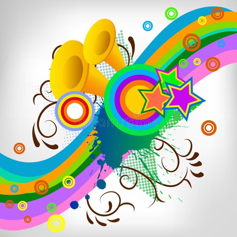 Fondo abstracto del tubo de la música con el chapoteo ilustración del vector