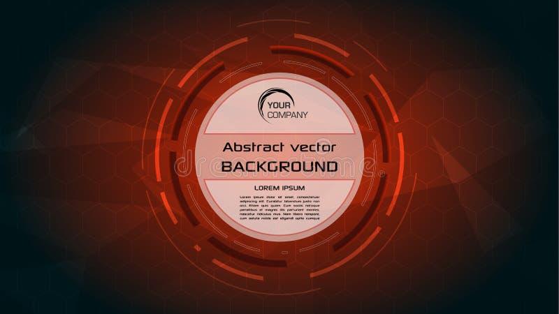 Fondo abstracto del vector con el círculo rojo de HUD stock de ilustración