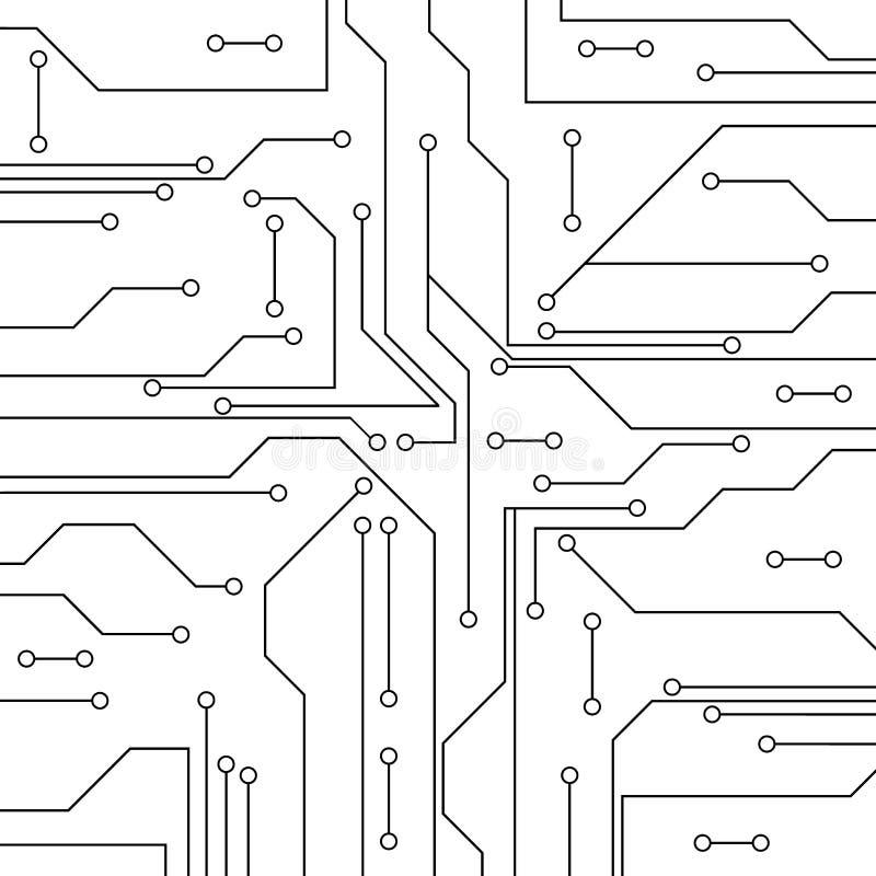 Fondo abstracto del vector con la placa de circuito de alta tecnología stock de ilustración