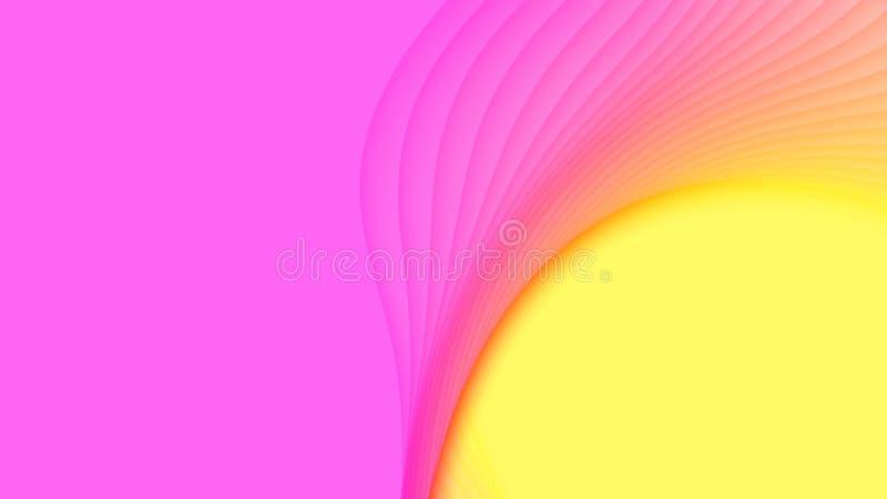 Fondo abstracto del vector 3D con las formas cortadas de papel Estilo de Vaporwave que talla arte Paisaje del arte de papel con p stock de ilustración