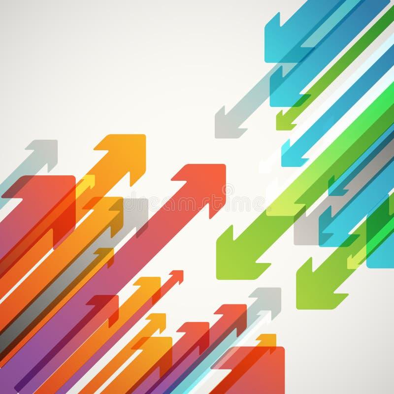 Fondo abstracto del vector de diversas flechas del color ilustración del vector