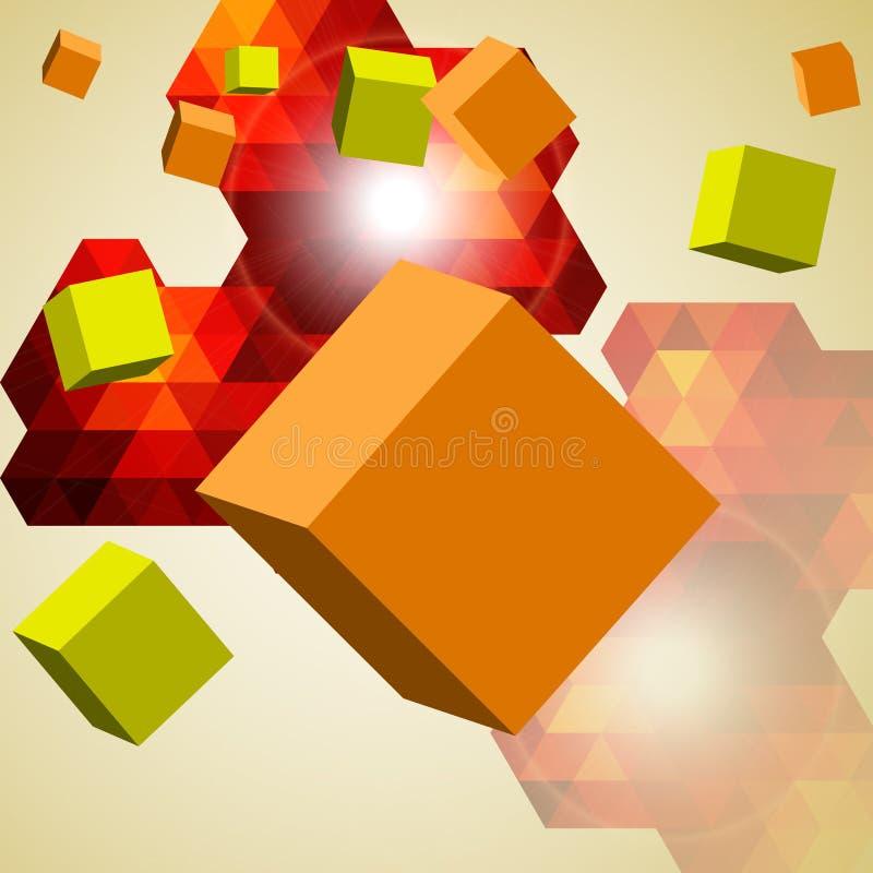 Fondo abstracto de los cubos 3d. stock de ilustración