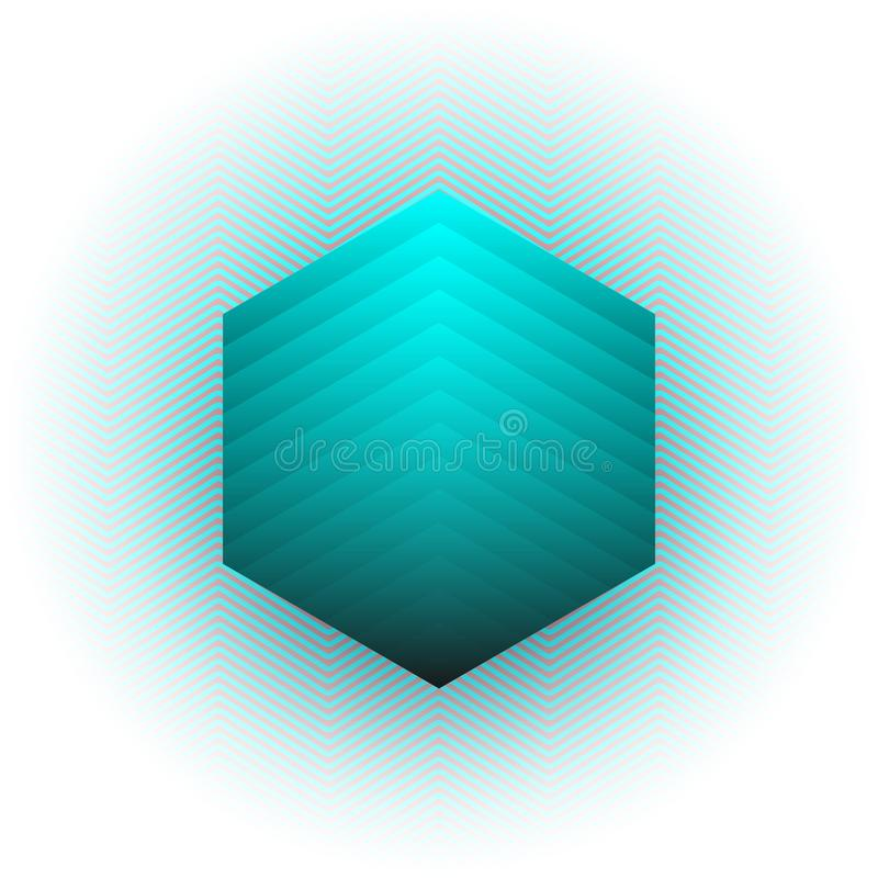 Fondo abstracto del vector Diseño del hexágono, rayas azules y forma hexagonal Fondo brillante del vector del color ilustración del vector