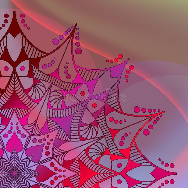 Fondo abstracto del vector Mandala en el fondo colorido de la onda stock de ilustración