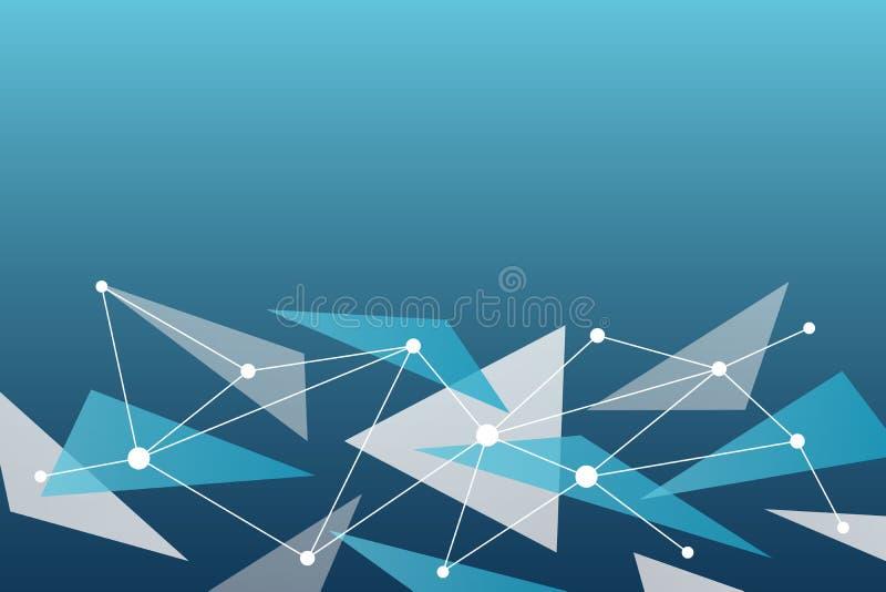 Fondo abstracto del vector Modelo de la red del tri?ngulo Ejemplo blanco azul gris para la tecnología, de los nervios, estructura stock de ilustración