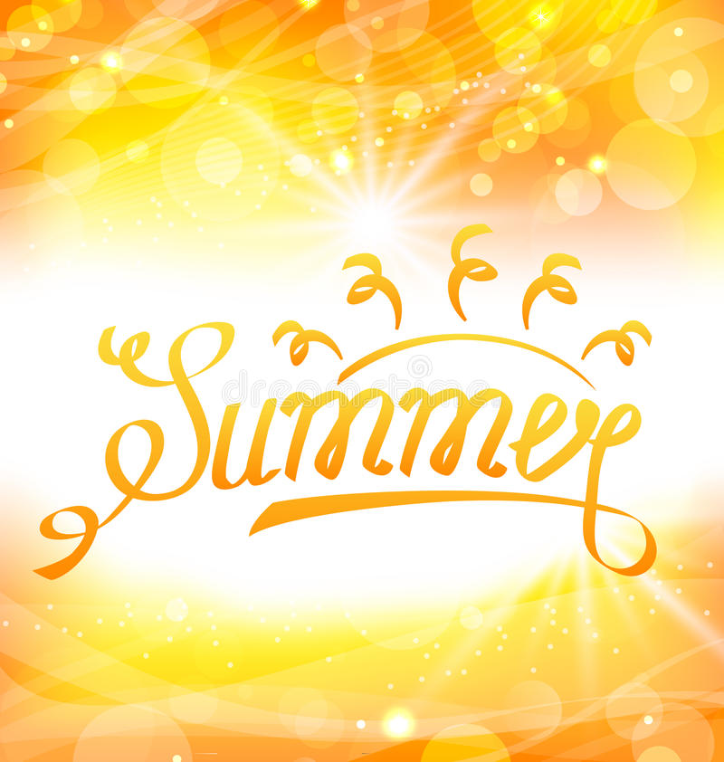 Fondo abstracto del verano con las letras del texto, Sun y la llamarada de la lente stock de ilustración