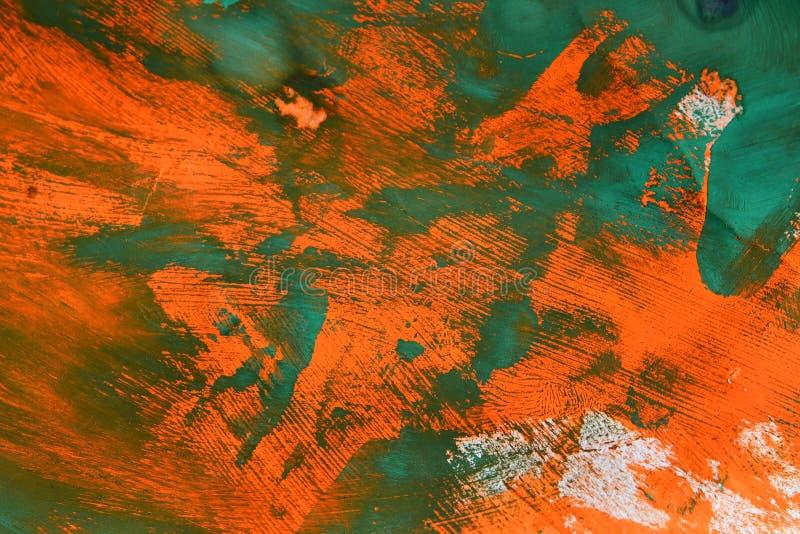 Fondo abstracto del verde sobre la pintura anaranjada imágenes de archivo libres de regalías