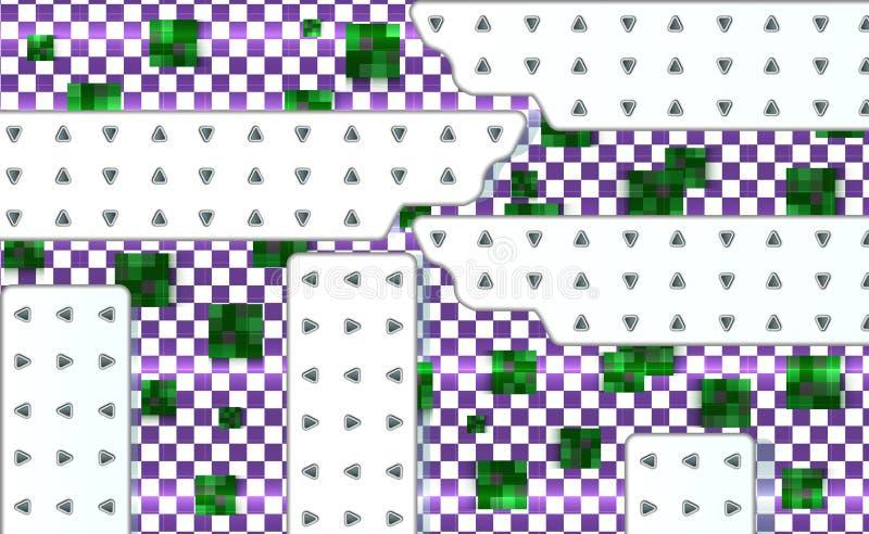 Fondo abstracto del verde y violeta con la malla de cuadrados Plantilla geométrica con los paneles técnicos blancos Illustrat del ilustración del vector