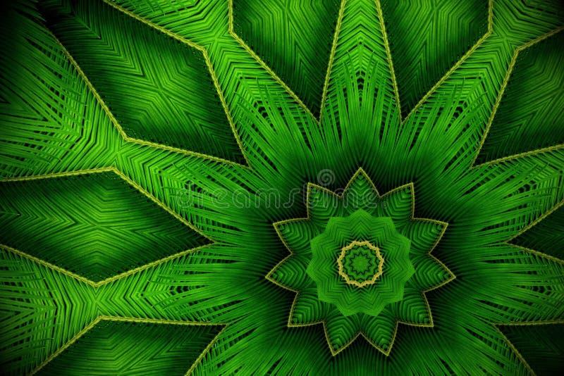 Fondo abstracto del verdor, hojas de palma con el effe del caleidoscopio libre illustration