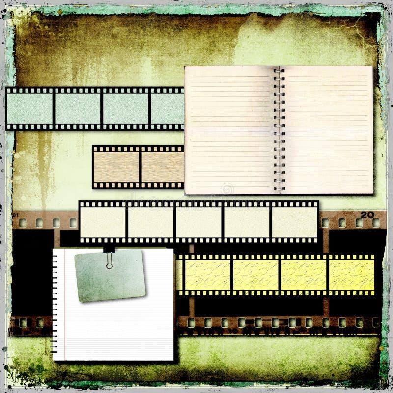 Fondo abstracto del vintage con los viejos libros y tira abiertos de la película. libre illustration