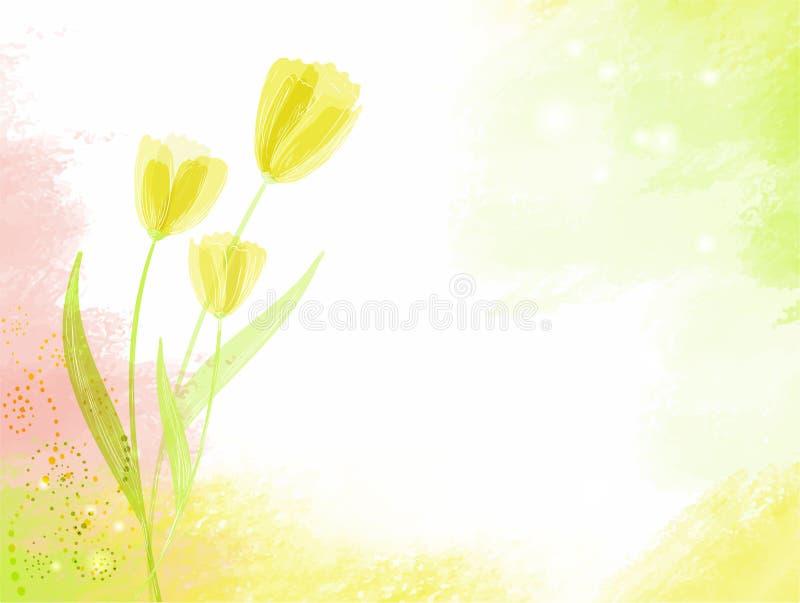 Fondo abstracto del watercolour con los tulipanes ilustración del vector