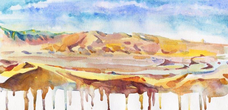 Fondo abstracto drenado mano Desierto de la acuarela y ejemplo del cielo ilustración del vector