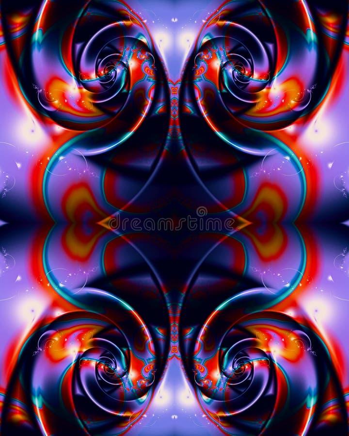 fondo abstracto enérgico brillante multicolor único artístico generado por ordenador de las ilustraciones de los fractales 3d ilustración del vector