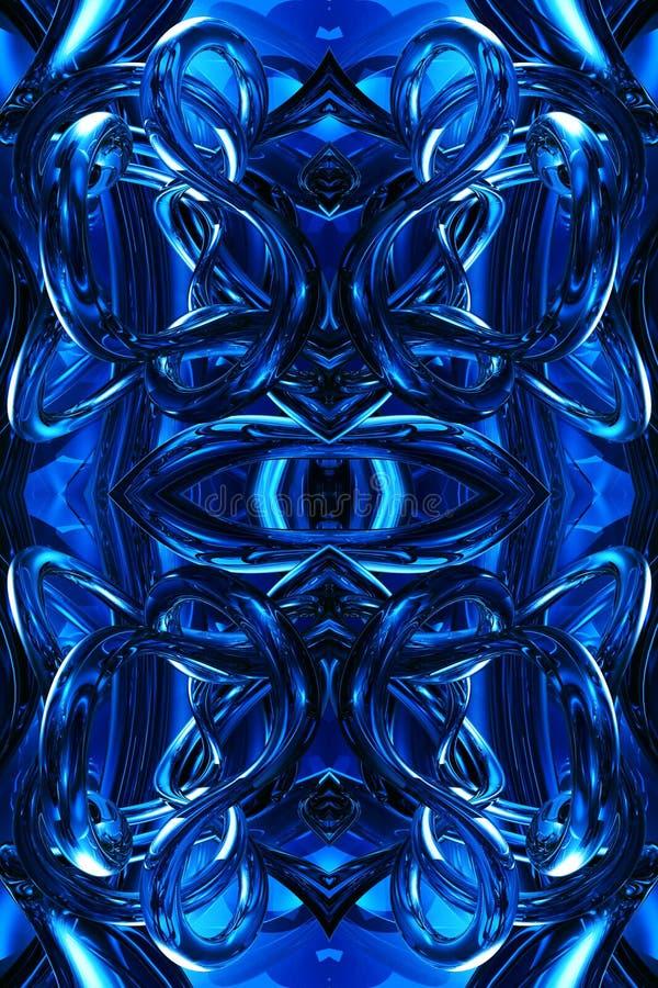Fondo abstracto enérgico futurista moderno azul generado por ordenador único artístico de las ilustraciones de los fractales 3d stock de ilustración