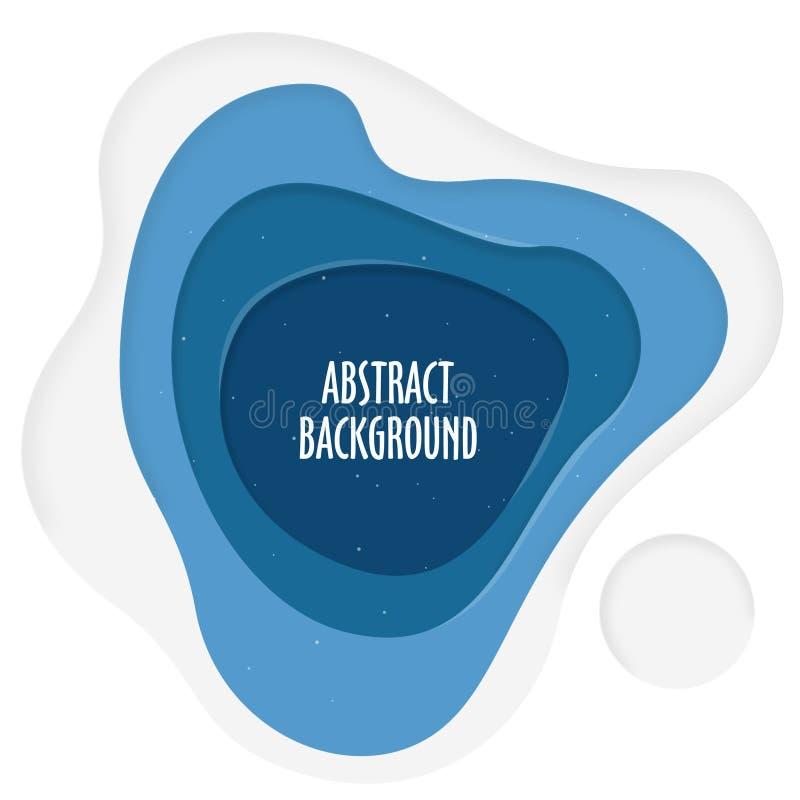 Fondo abstracto en capas azules y blancas stock de ilustración