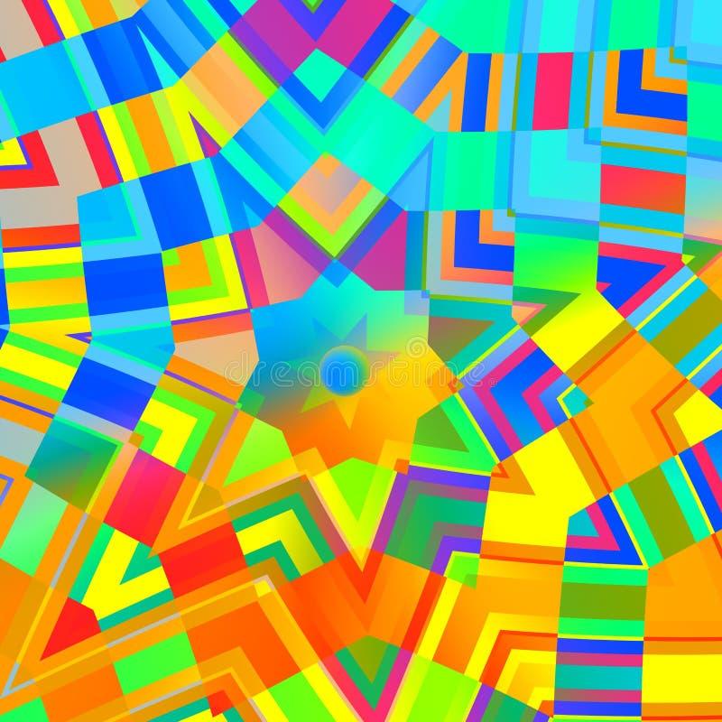 Fondo abstracto en colores del arco iris Mandala amarilla concéntrica Mosaico multicolor Digitaces Art Collage Diseño caleidoscóp stock de ilustración
