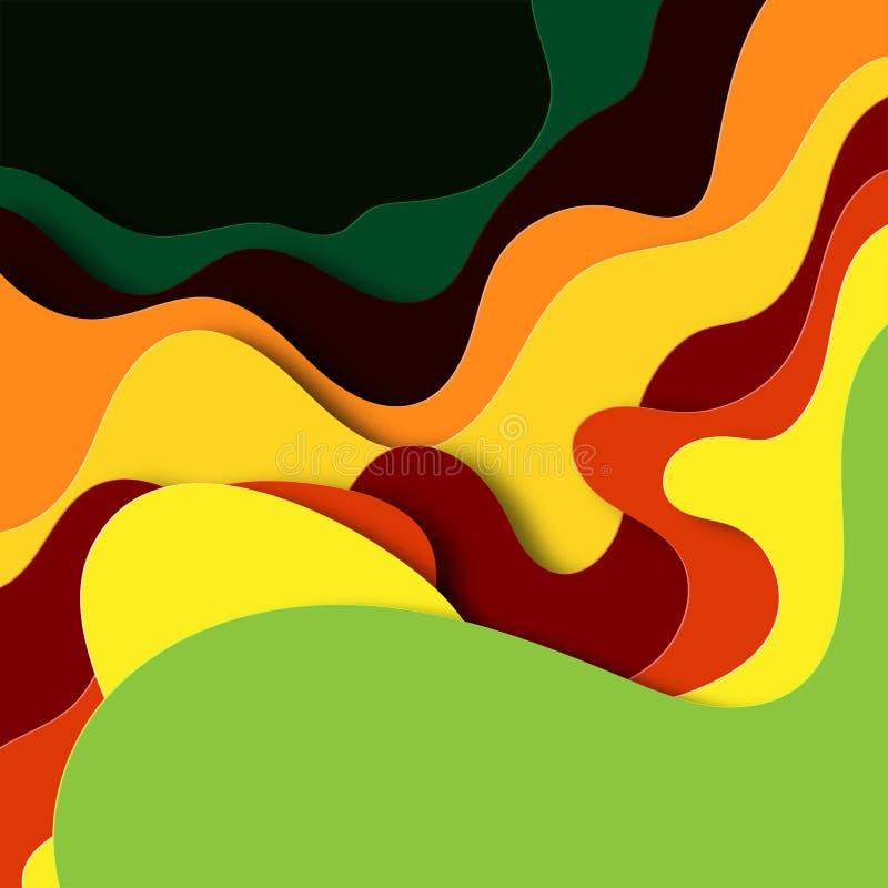Fondo abstracto en el estilo cortado de papel Dise?o acodado del oto?o para los carteles, invitaciones, tarjetas de visita, bande stock de ilustración