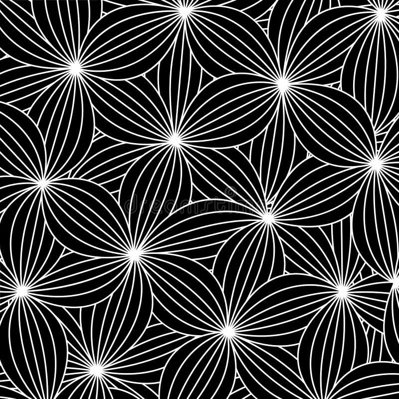 Fondo abstracto en estilo del arte del zen, flores negras con c blanca ilustración del vector