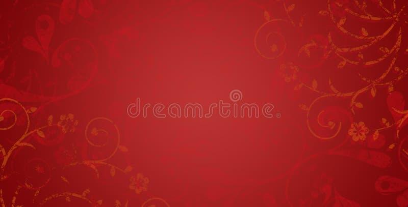 Fondo abstracto en rojo y de oro D?a feliz del `s de la tarjeta del d?a de San Valent?n Tarjeta de felicitaciones de la Navidad c stock de ilustración