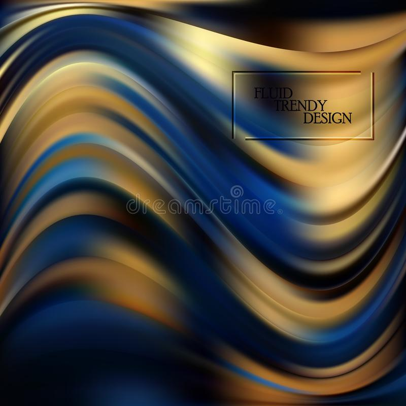 Fondo abstracto flúido de la onda con formas líquidas Formas líquidas coloreadas con el efecto del flujo para la tarjeta de visit libre illustration
