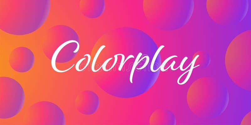 Fondo abstracto flúido de Proton de la púrpura del color plástico excepcional del rosa, fantasía futurista con diseño colorido de stock de ilustración
