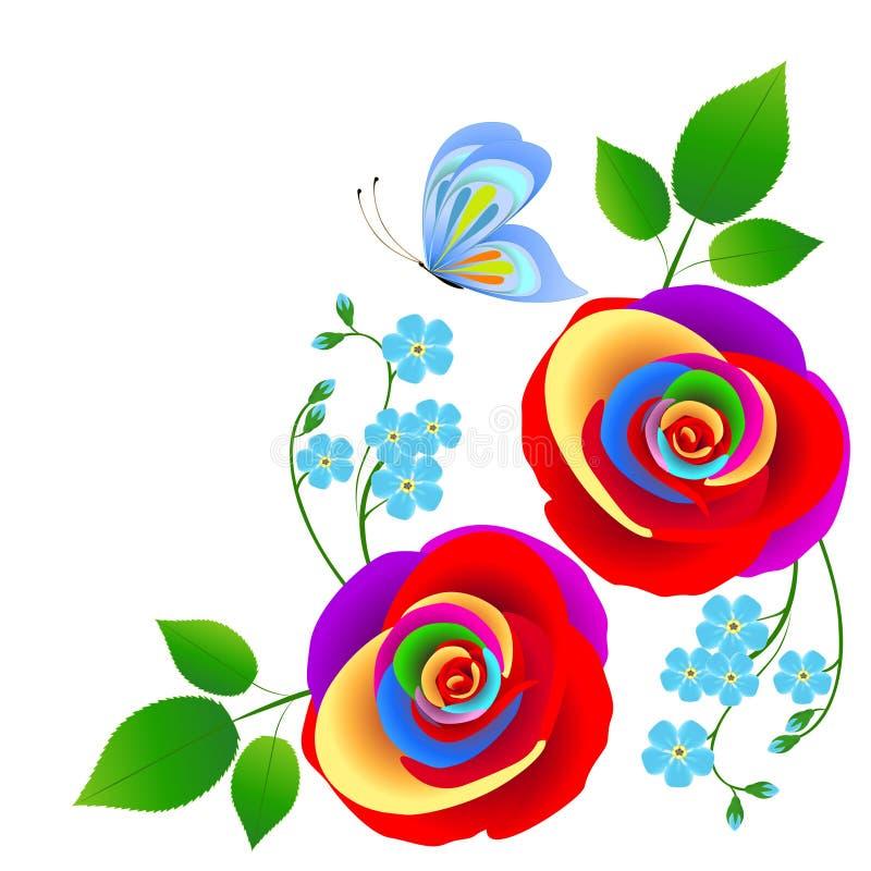 Fondo abstracto floral con rosas multicoloras y una mariposa stock de ilustración