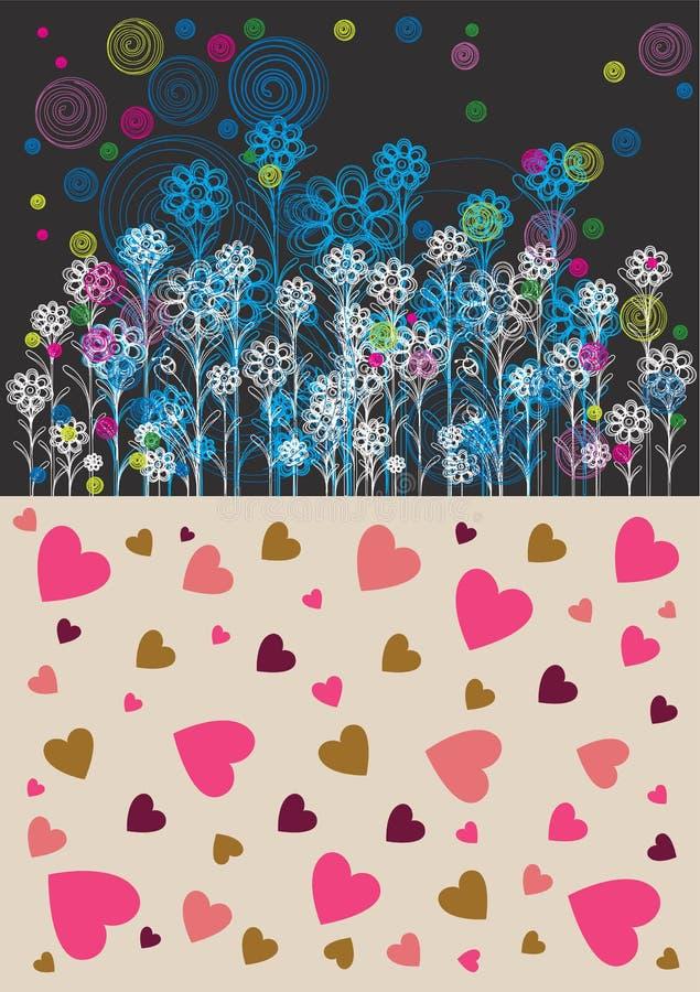 Fondo abstracto floral hermoso en suavemente azul libre illustration