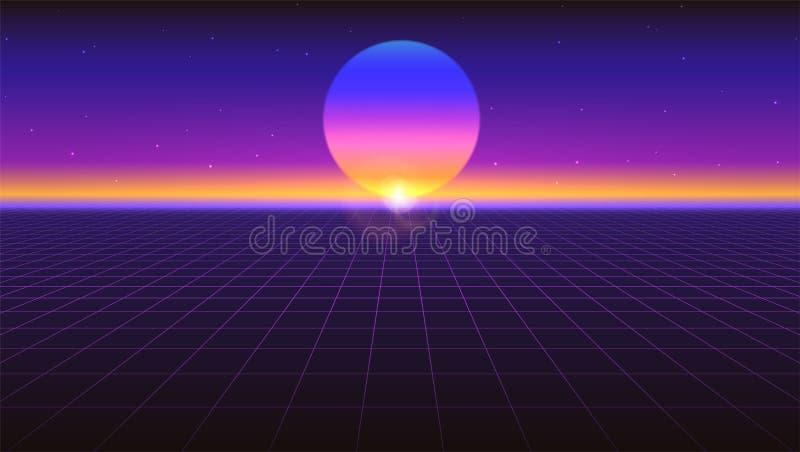 Fondo abstracto futurista de Sci fi Pendiente retra violeta, estilo del vintage de los años 80 Superficie virtual con las rejilla stock de ilustración