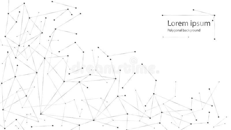 Fondo abstracto geométrico con la línea y los puntos conectados Estructura blanco y negro de la molécula ilustración del vector