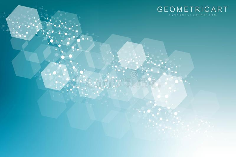 Fondo abstracto geométrico con la línea y los puntos conectados Molécula y comunicación de la estructura Concepto científico para ilustración del vector
