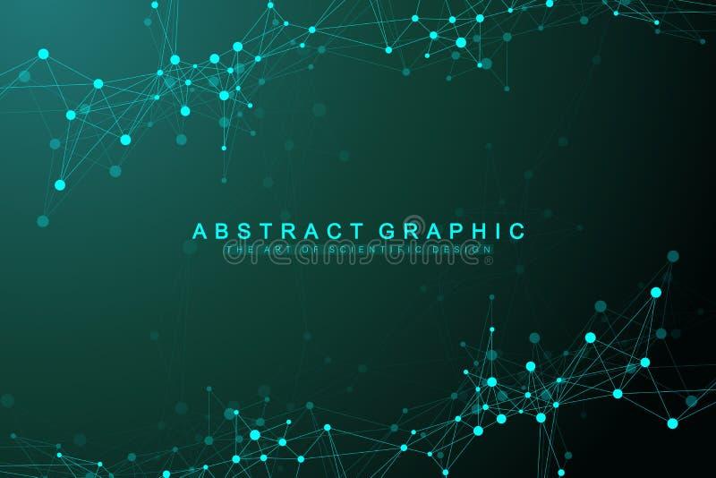 Fondo abstracto geométrico con las líneas y los puntos conectados Flujo de la onda Molécula y fondo de la comunicación gráfico ilustración del vector