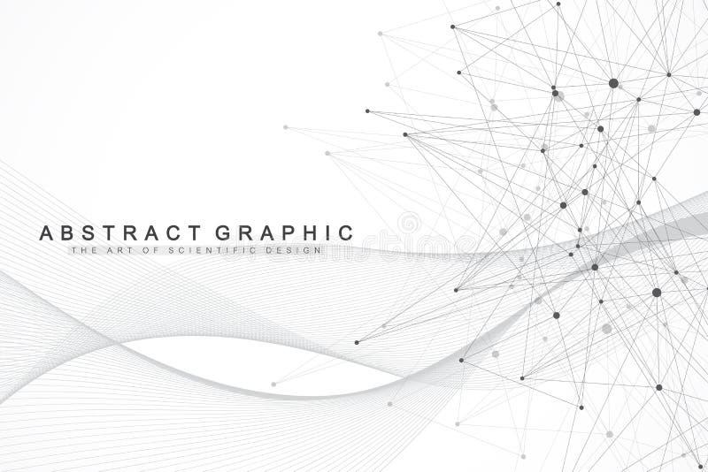 Fondo abstracto geométrico con las líneas y los puntos conectados Flujo de la onda Molécula y fondo de la comunicación gráfico libre illustration