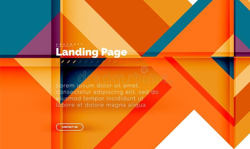 Fondo abstracto geométrico de la forma cuadrada, plantilla de aterrizaje del diseño web de la página stock de ilustración