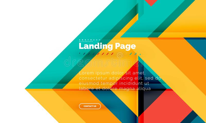 Fondo abstracto geométrico de la forma cuadrada, plantilla de aterrizaje del diseño web de la página ilustración del vector