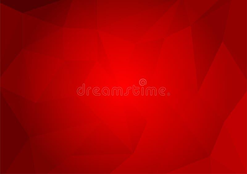 Fondo abstracto geométrico del polígono del color rojo Ejemplo del vector para su asunto stock de ilustración