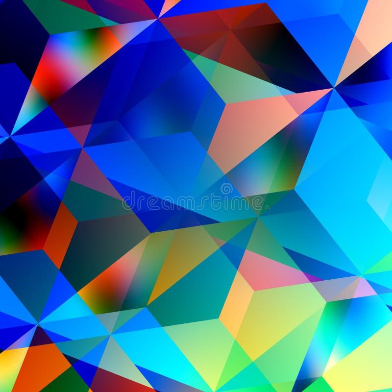 Fondo abstracto geométrico Modelo de mosaico azul Diseño del triángulo Color y Art Patterns gráfico del ejemplo caótico stock de ilustración